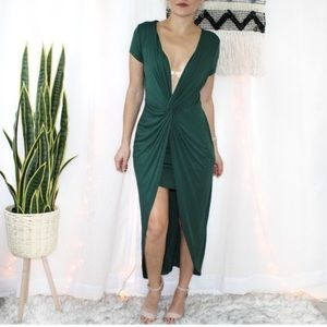 Haute Monde Green Deep Neckline Midi Dress